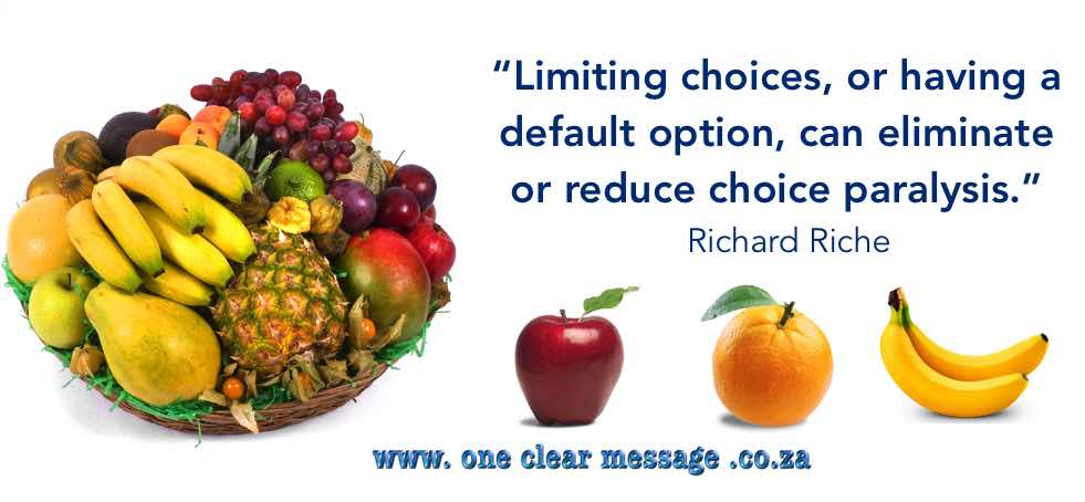 limit choices to reduce choice paralysis