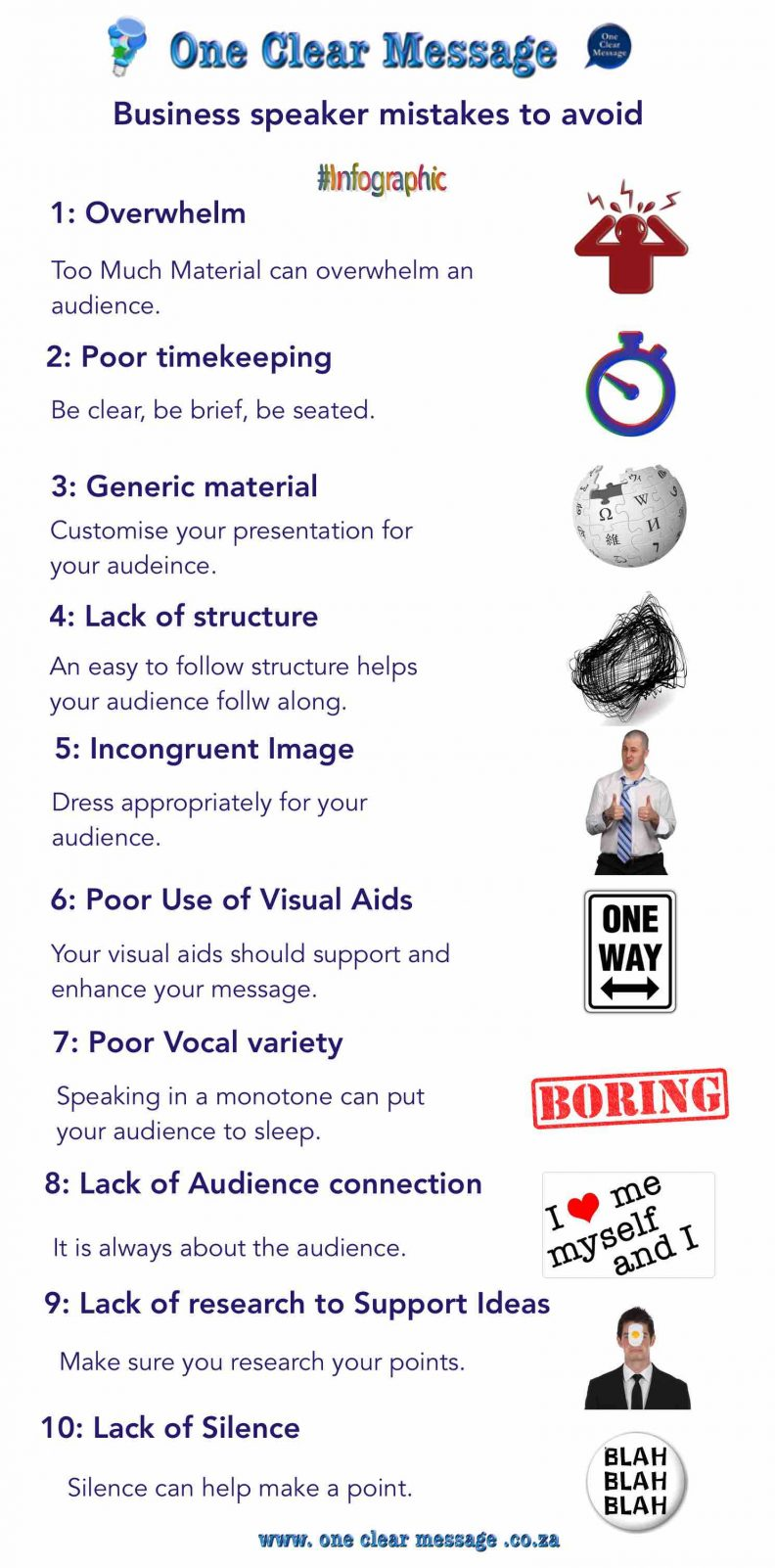Business speaker and presentation mistakes to avoid Infographic