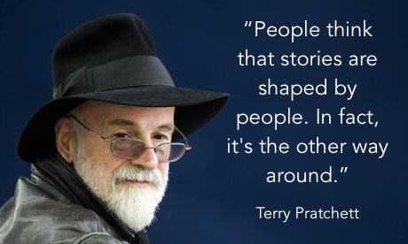 Our brains love business stories Terry Pratchett quote