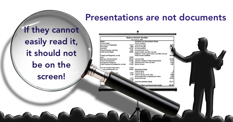 PPT not a document but vsiual support of message