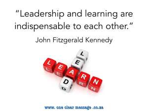 Leadership and learning - Take small Kaizen steps