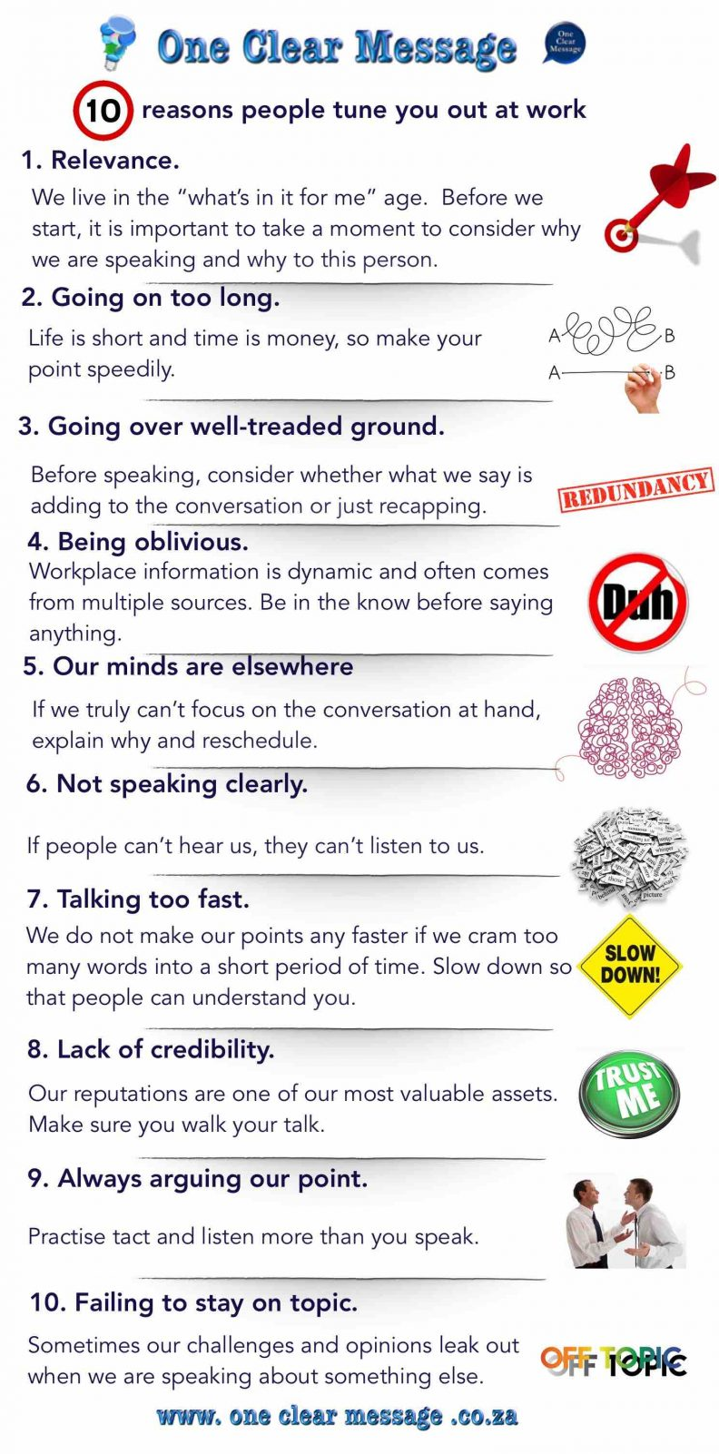 10 reasons people tune you out at work infographic