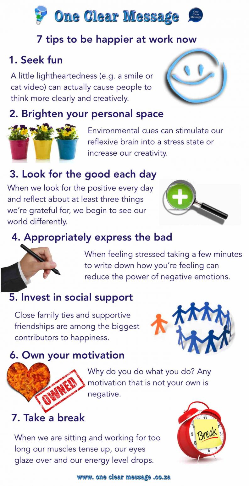 7 tips to be happier at work now Infographic