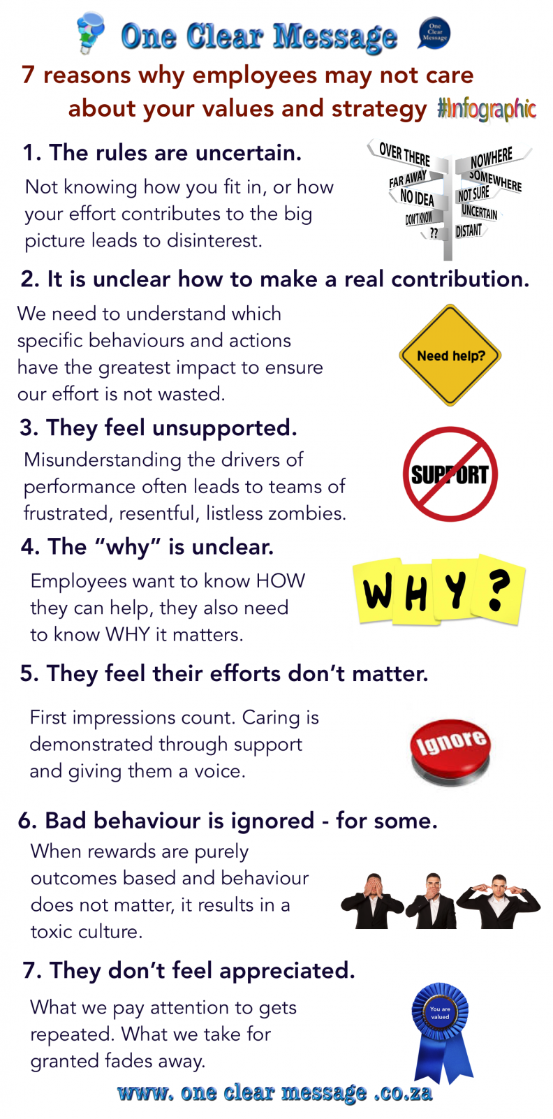 7 reasons why your employees may not care about your values and strategy infographic