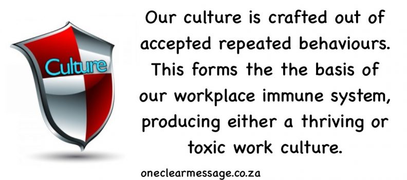 Our organisational culture is crafted out of accepted repeated behaviours