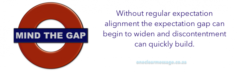 Without regular expectation alignmentthe expectation gap can begin to widen and discontentment can quickly build.