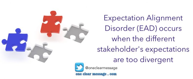Expectation Alignment Disorder (EAD) occurs when the different stakeholder's expectations are too divergent