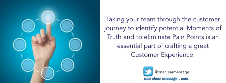 Taking your team through the customer journey to identify potential Moments of Truth and to eliminate Pain Points is an essential part of crafting a great Customer Experience