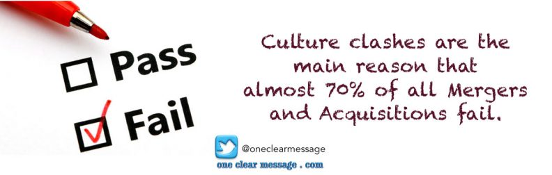 Culture clashes are the main reason that almost 70% of all Mergers and Acquisitions fail