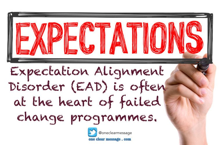 Expectation Alignment Disorder (EAD) is often at the heart of failed change programmes.