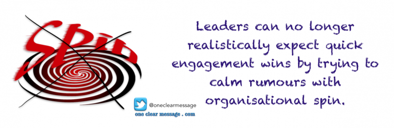 Leaders can no longer realistically expect quick engagement wins by trying to calm rumours with organisational spin