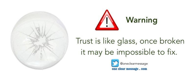Trust is like glass, once broken it may be impossible to fix.