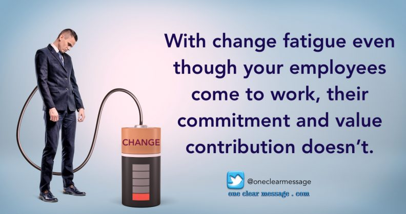 With change fatigue even though your employees come to work, their commitment and value contribution doesn't.